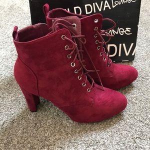 Wild Diva Burgundy Bootie